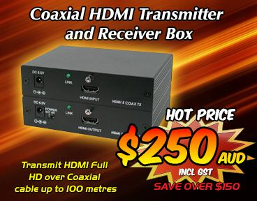 Coaxial HDMI Transmitter and Receiver Box