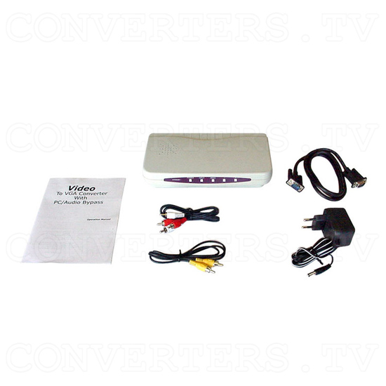 NTSC / PAL to VGA Convertor / Converter with PC and Audio Bypass (CM-331) - Full Kit