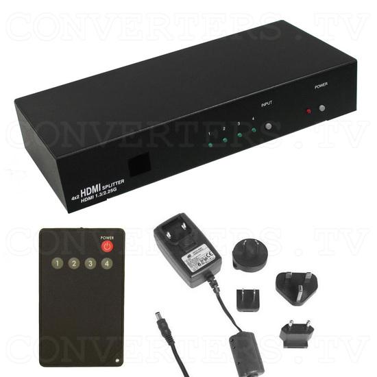 HDMI Switch 4 input - 2 output - Full Kit