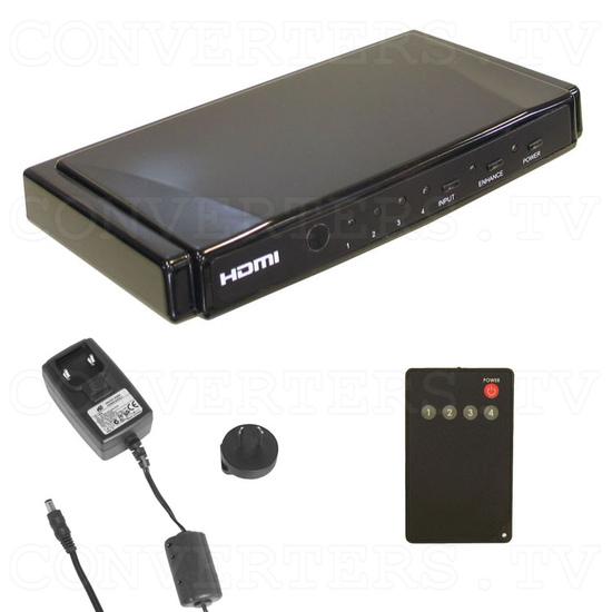 HDMI Switch 4 input - 1 output Non-Metallic - Full Kit
