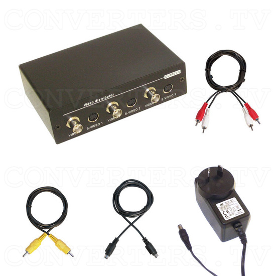 Video CV-SV Distributor 1 input : 3 output (w/Audio) - Full Kit