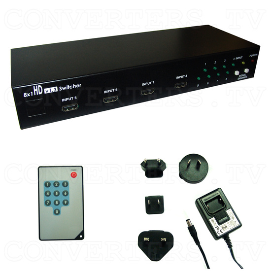 HDMI 8 In 1 Out Switcher - Full Kit
