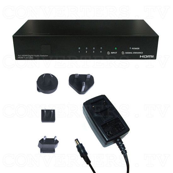 HDMI v1.3 Video and Digital Audio Selector 4in:1out - Full Kit