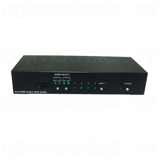 HDMI v1.3 4 In 2 Out Switcher with Audio - Front View