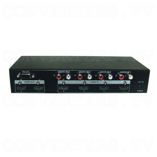 HDMI v1.3 4 In 2 Out Switcher with Audio - Back View