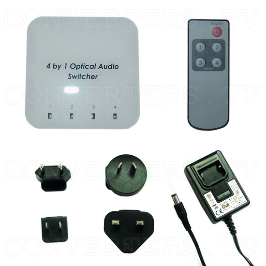 Optical Audio Switcher 4 In 1 Out with Remote Control - Full Kit