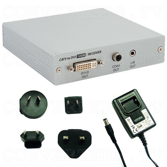 DVI Over CAT5 Receiver Box - 100 meters - Full Kit