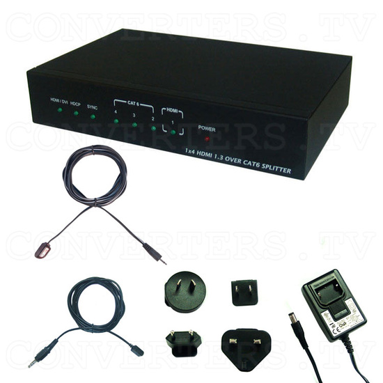 HDMI to CAT6 1 In 4 Out Splitter - Full Kit
