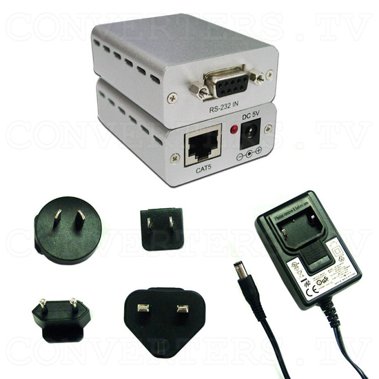 RS-232 Over CAT5 Cable Transmitter and Receiver Extender - Full Kit