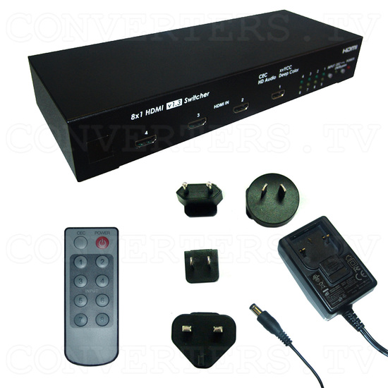 HDMI v1.3 8 In 1 Out Switcher with CEC - Full Kit