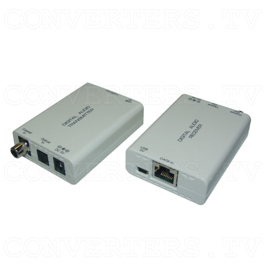 Digital S/PDIF and Toslink Audio over single Cat5e/6 Transmitter and Receiver - Full View 1