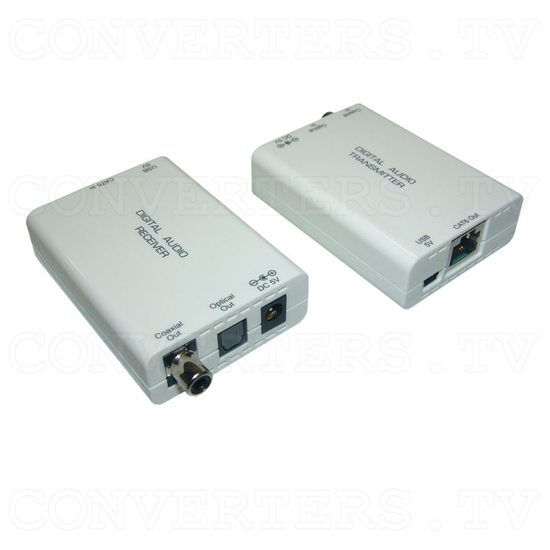 Digital S/PDIF and Toslink Audio over single Cat5e/6 Transmitter and Receiver - Full View 2