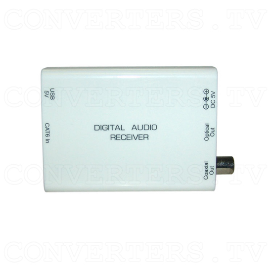 Digital S/PDIF and Toslink Audio over single Cat5e/6 Transmitter and Receiver - Receiver -Top