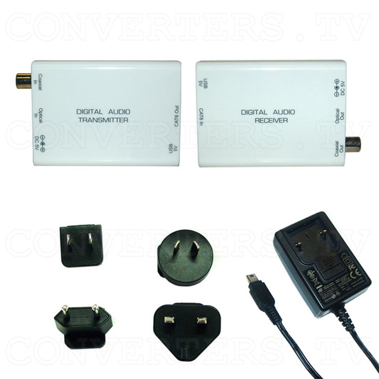 Digital S/PDIF and Toslink Audio over single Cat5e/6 Transmitter and Receiver - Full Kit