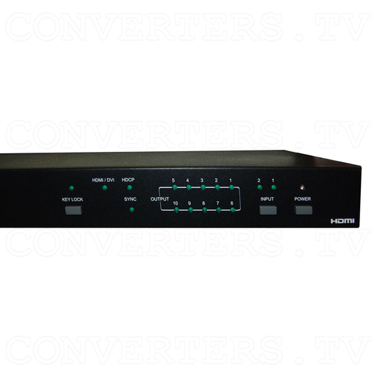 HDMI Switch 2 input - 10 output - Front View - Detail