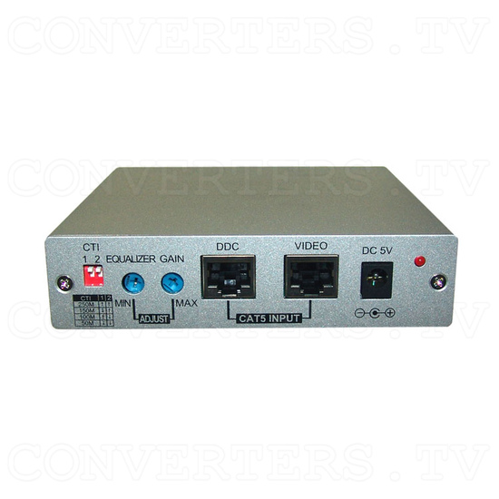 DVI Over CAT5 Receiver Box - 250 meters - Back View
