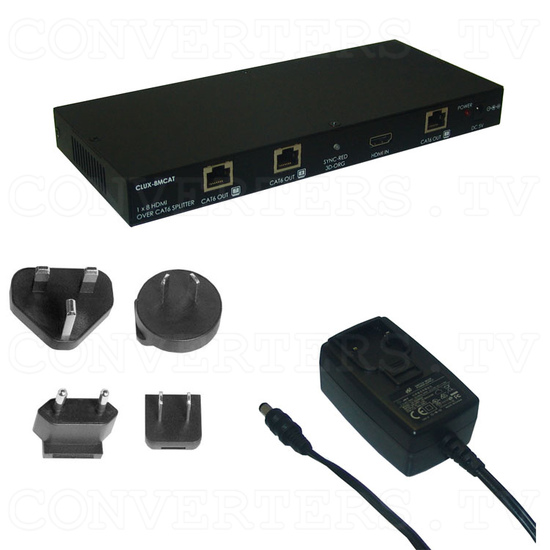 HDMI 1 In 8 Out Single CAT6 Splitter - Full Kit