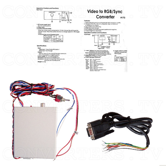 Video (PAL or NTSC) to RGB Converter with 12v Relay Switch for Reverse Camera - Full Kit