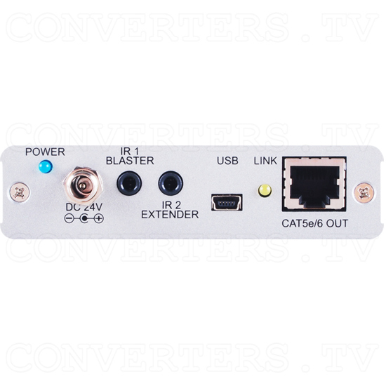 HDBaseT-Lite 1x2 HDMI over CAT5e/6/7 Transmitter w/HDMI Bypass/IR/RS-232 - ID#15117 Back View.png