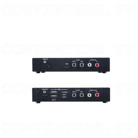 HDBaseT HDMI and Audio over CAT5e/6 /7 Cable with 48V PoE - Back View