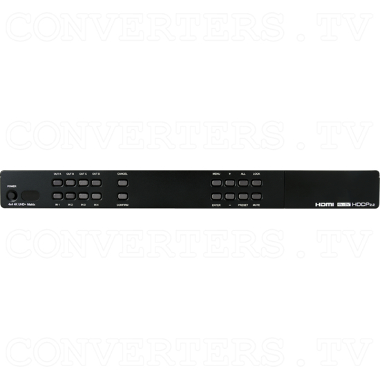 4x4 HDMI Matrix UHD 6G with USB Line Extenders - Front View