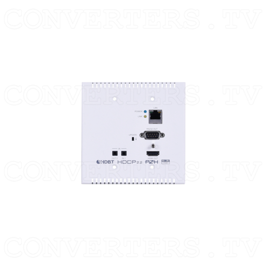 HDMI over HDBaseT Wall-plate Extender Set w/ LAN, IR, RS-232,PoH - ID#15440 Rx Front View.png