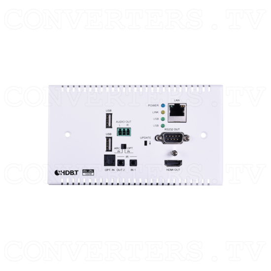HDMI over HDBaseT Wall-plate Transmitter & Receiver Set w/ LAN, IR, RS-232,PoH - ID#15439 Rx Front View.png