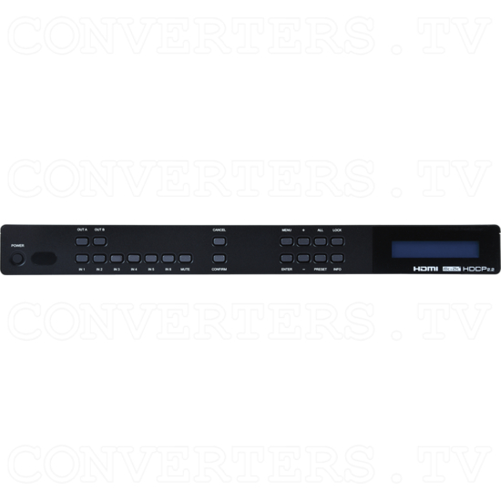6 input 2 output 4K UHD HDMI Matrix with 6G Capability - ID#15476 Front View.png