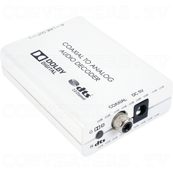 Digital Co-ax to Analog L/R Audio Converter with Dolby Digital and DTSM 2.0 Decoder - Digital Co-ax to Analog L/R Audio Converter - Full View.png