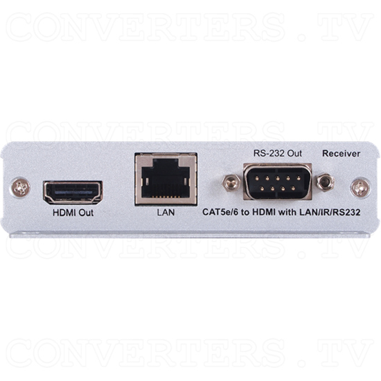 HDMI over CAT5e/6/7 Receiver with Bi-directional PoC (mountable) - HDMI over CAT5e/6/7 Receiver with Bi-directional PoC - Front View.png