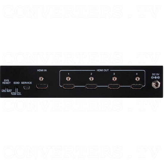 4K2K UHD 1in 4out HDMI Splitter (with CEC System Reset) - 4K2K UHD 1in 4out HDMI Splitter - Back View.png